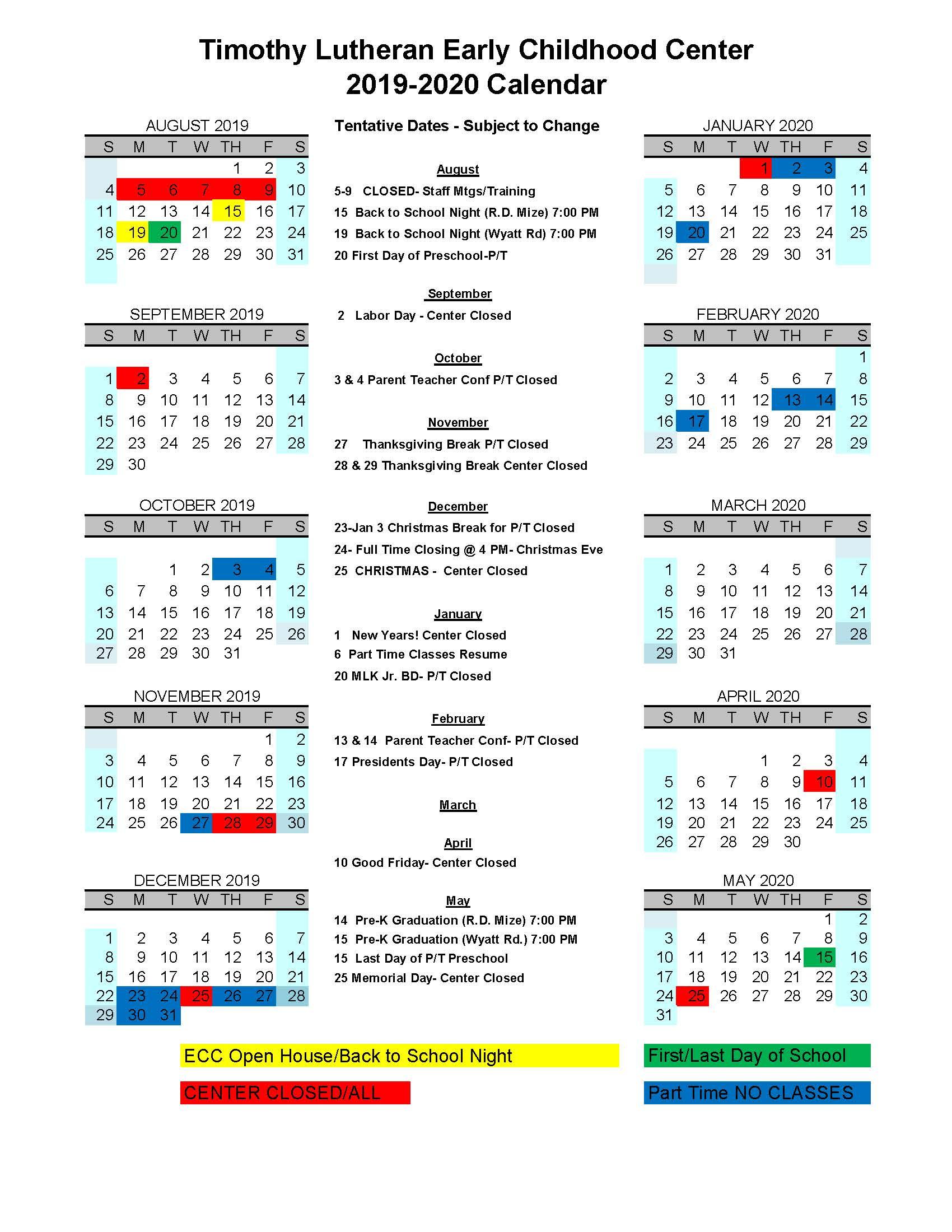 Ecc Calendar.Early Childhood Center Timothy Lutheran School